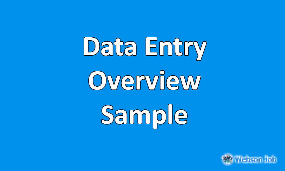 data entry profile overview