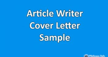 Cover Letter Sample for Articles Writer