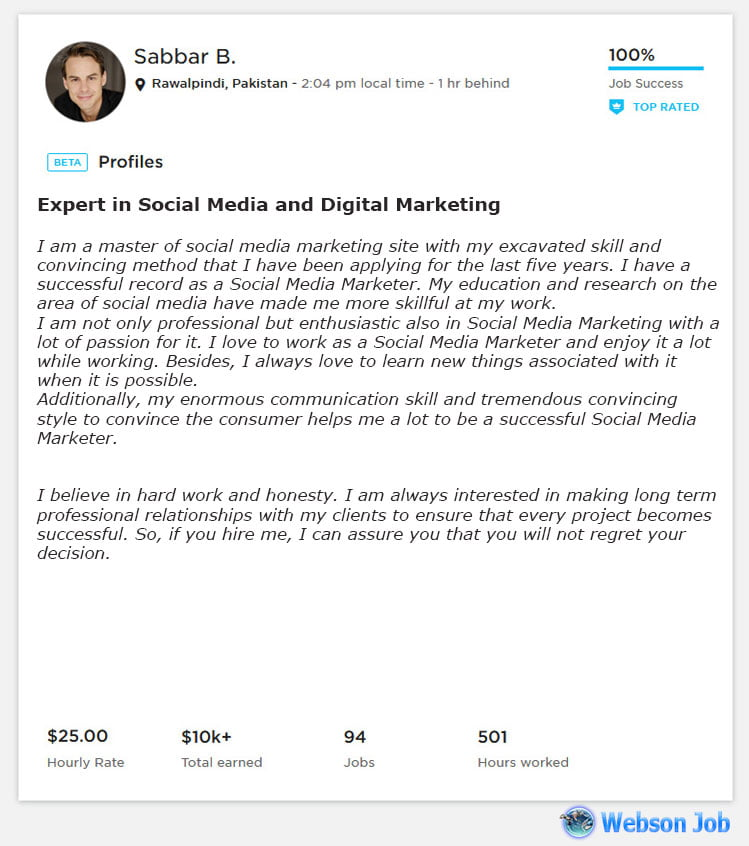 Upwork Profile Overview Sample for Social Media Marketing